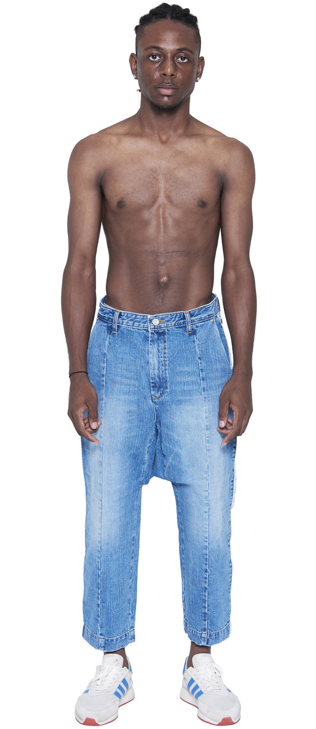 DROPPED CROTCH SIDE SNAPS JEANS  (WASHED BLUE)