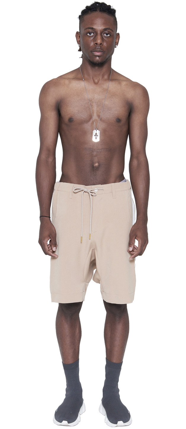 DRAWSTRING DROPPED CROTCH SHORTS (BEIGE)