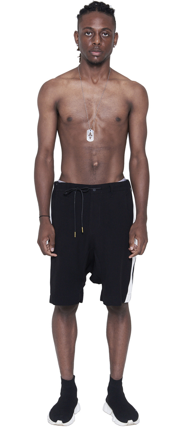 DRAWSTRING DROPPED CROTCH SHORTS (BLACK)