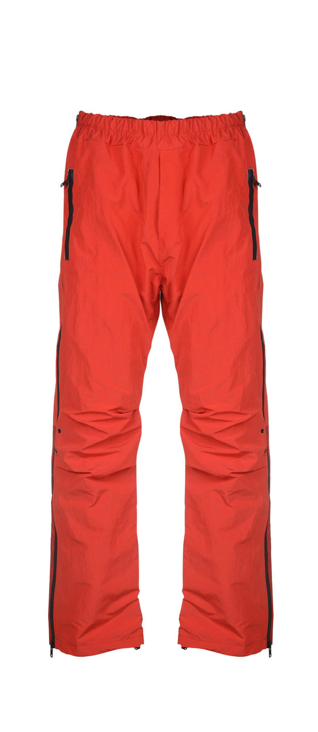 SIDE-ZIPPER WARM-UP PANTS - RED BLACK
