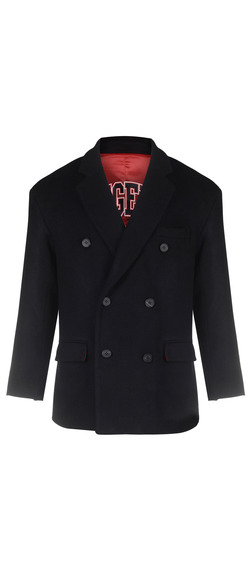DOUBLE BREASTED WOOL COAT - BLACK
