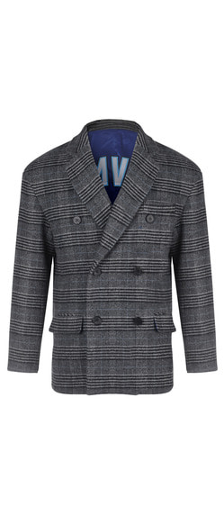 DOUBLE BREASTED WOOL COAT - CHECK