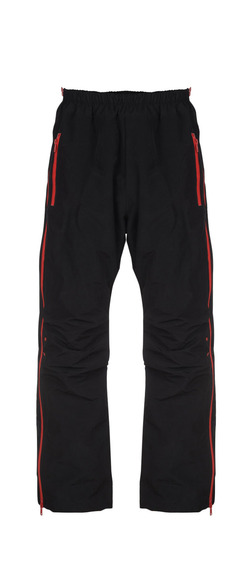 SIDE-ZIPPER WARM-UP PANTS - BLACK RED, BLACK YELLOW